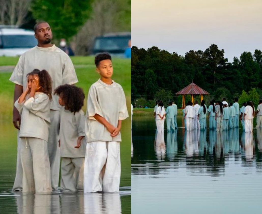 kanyee 1030x841 - Kanye West Walks On Water With His Children, As He Preaches The Gospel To His Seep.