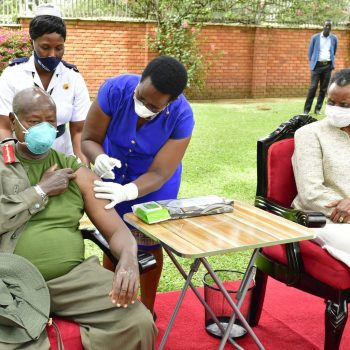 Finally, President Museveni And First Lady Janet Museveni Get COVID-19 AstraZeneca Vaccine, Following Public Out Cry.