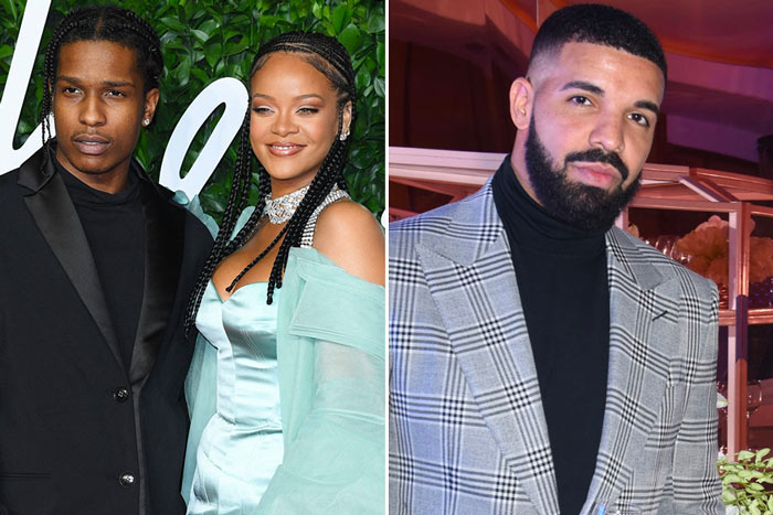 rihanna - Rihanna And A$AP Rocky Comfortably Hangout With Her Ex Drake.